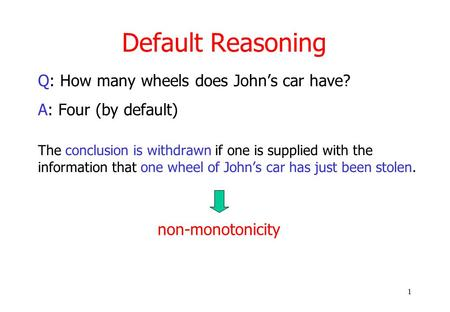 1 Default Reasoning Q: How many wheels does John's car have? A: Four (by default) The conclusion is withdrawn if one is supplied with the information that.
