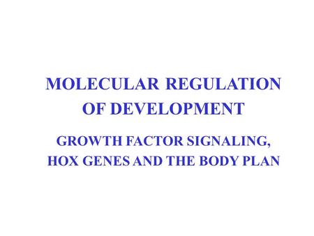 MOLECULAR REGULATION OF DEVELOPMENT GROWTH FACTOR SIGNALING, HOX GENES AND THE BODY PLAN.