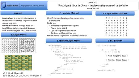 The Knight's Tour in Chess – Implementing a Heuristic Solution John R Gerlach The Knight's Tour in Chess – Implementing a Heuristic Solution John R Gerlach.