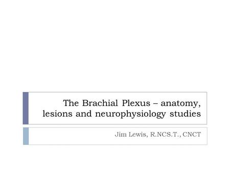 The Brachial Plexus – anatomy, lesions and neurophysiology studies Jim Lewis, R.NCS.T., CNCT.