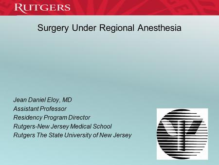 Surgery Under Regional Anesthesia