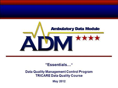 Data Quality Management Control Program TRICARE Data Quality Course