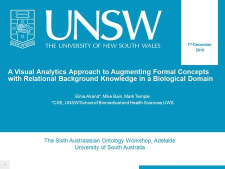 A Visual Analytics Approach to Augmenting Formal Concepts with Relational Background Knowledge in a Biological Domain 7 th December 2010 Elma Akand*, Mike.