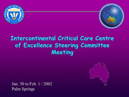 Intercontinental Critical Care Centre of Excellence Steering Committee Meeting Jan. 30 to Feb. 1 / 2002 Palm Springs.