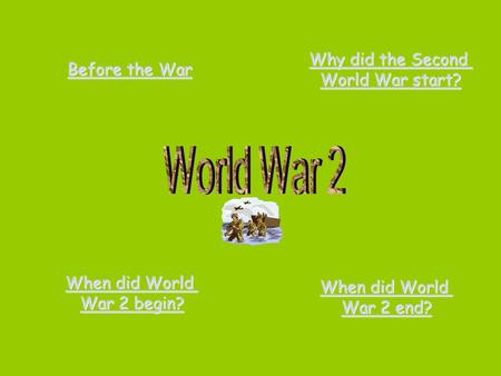 Before the War Before the War Why did the Second Why did the Second World War start? World War start? When did World When did World War 2 begin? War 2.