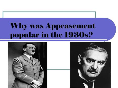 Why was Appeasement popular in the 1930s?. Today we are learning The reasons why Britain followed appeasement in the 1930s.