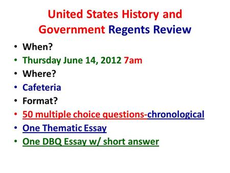 Us history regents essay topics