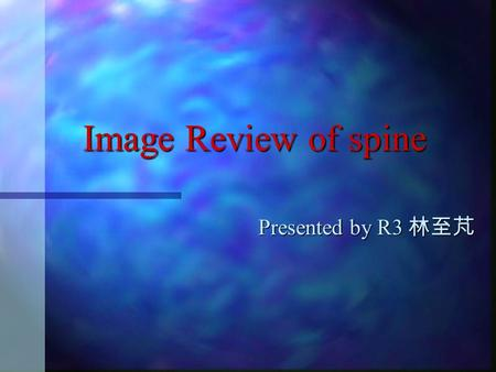 Image Review of spine Presented by R3 林至芃 Image Review of spine.