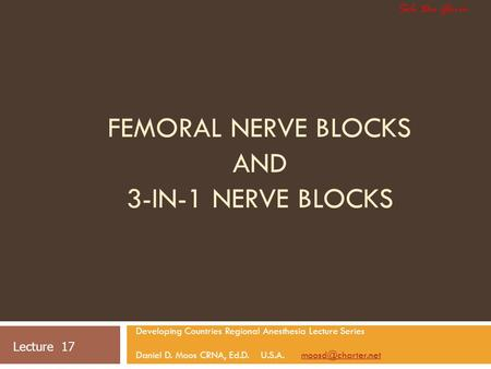Femoral Nerve Blocks and 3-in-1 Nerve Blocks