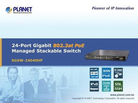 802.3at PoE 24-Port Gigabit 802.3at PoE Managed Stackable Switch SGSW-24040HP.