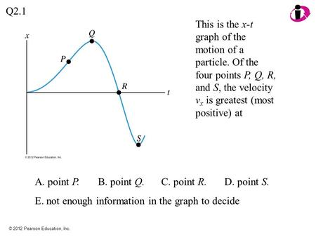 © 2012 Pearson Education, Inc. Q2.1 A. point P.B. point Q.C. point R.D. point S. E. not enough information in the graph to decide This is the x-t graph.