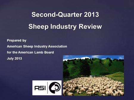 Second-Quarter 2013 Sheep Industry Review Prepared by American Sheep Industry Association for the American Lamb Board July 2013.