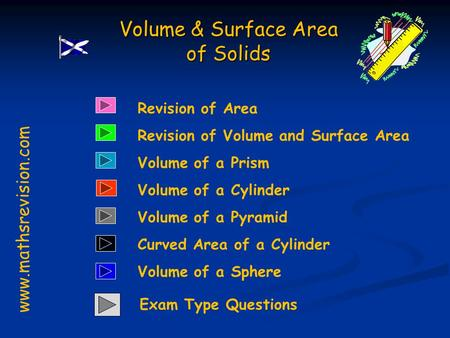 Revision of Area Revision of Volume and Surface Area Volume of a Prism Volume & Surface Area of Solids www.mathsrevision.com Volume of a Cylinder Volume.