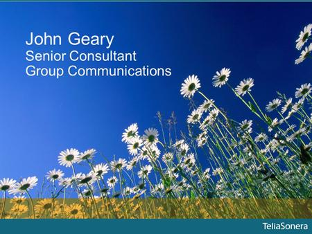 John Geary Senior Consultant Group Communications.