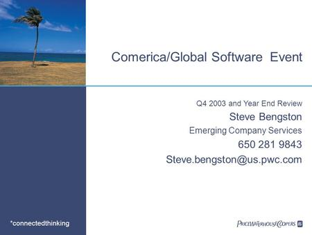 *connectedthinking Comerica/Global Software Event Q4 2003 and Year End Review Steve Bengston Emerging Company Services 650 281 9843
