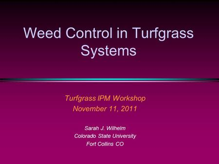 Weed Control in Turfgrass Systems Turfgrass IPM Workshop November 11, 2011 Sarah J. Wilhelm Colorado State University Fort Collins CO.