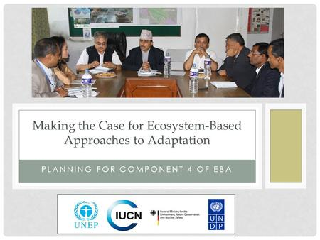 PLANNING FOR COMPONENT 4 OF EBA Making the Case for Ecosystem-Based Approaches to Adaptation.