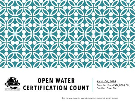 OPEN WATER CERTIFICATION COUNT As of Q4, 2014 Compiled from PADI, SDI & SSI Certified Diver Files ©2015 THE DIVING EQUIPMENT & MARKETING ASSOCIATION |