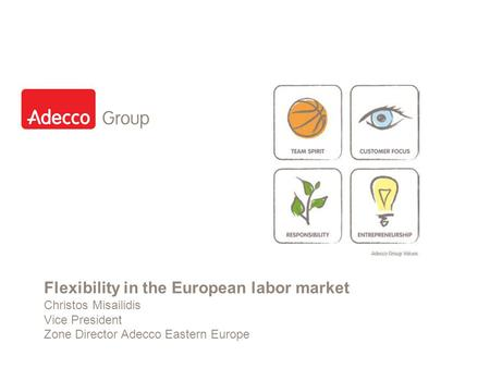 Slide 1 Flexibility in the European labor market Christos Misailidis Vice President Zone Director Adecco Eastern Europe.