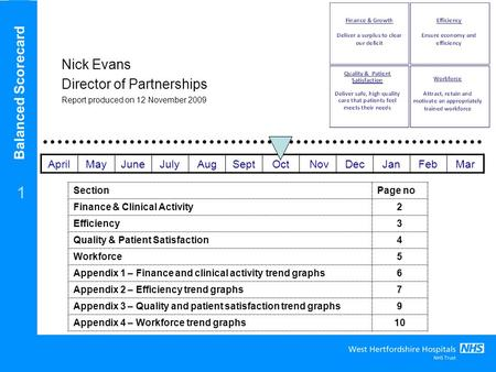 Balanced Scorecard 1 Nick Evans Director of Partnerships Report produced on 12 November 2009 SectionPage no Finance & Clinical Activity2 Efficiency3 Quality.