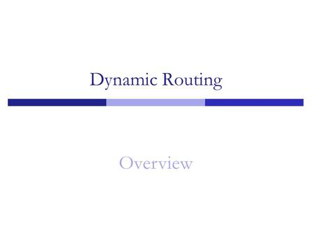 Dynamic Routing Overview 1.