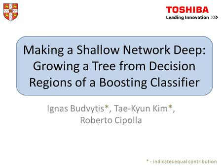 Ignas Budvytis*, Tae-Kyun Kim*, Roberto Cipolla * - indicates equal contribution Making a Shallow Network Deep: Growing a Tree from Decision Regions of.