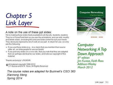 Chapter 5 Link Layer Computer Networking: A Top Down Approach 6 th edition Jim Kurose, Keith Ross Addison-Wesley March 2012 A note on the use of these.