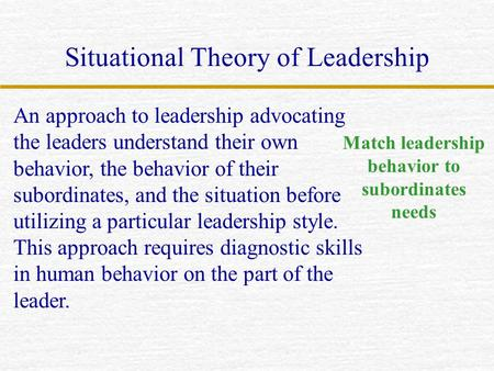 Situational Theory of Leadership An approach to leadership advocating the leaders understand their own behavior, the behavior of their subordinates, and.