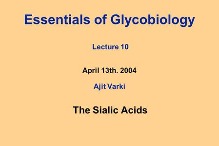 Essentials of Glycobiology Lecture 10 April 13th. 2004 Ajit Varki The Sialic Acids.