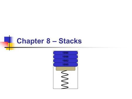 Chapter 8 – Stacks 1996 1998 1982 1995. BYU CS/ECEn 124Chapter 8 - Stacks2 Topics to Cover… The Stack Subroutines Subroutine Linkage Saving Registers.