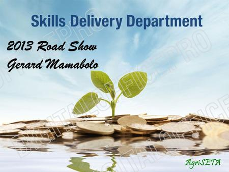 Skills Delivery Department AgriSETA 2013 Road Show Gerard Mamabolo.