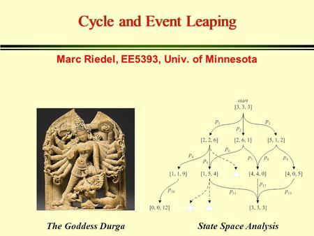 Cycle and Event Leaping State Space AnalysisThe Goddess Durga Marc Riedel, EE5393, Univ. of Minnesota.