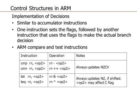 Control Structures in ARM Implementation of Decisions Similar to accumulator instructions One instruction sets the flags, followed by another instruction.