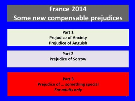 Part 1 Prejudice of Anxiety Prejudice of Anguish Part 2 Prejudice of Sorrow Part 3 Prejudice of … something special For adults only France 2014 Some new.