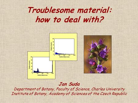 Troublesome material: how to deal with? Jan Suda Department of Botany, Faculty of Science, Charles University Institute of Botany, Academy of Sciences.