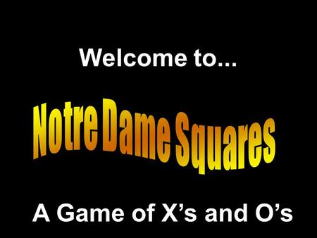 Welcome to... A Game of X's and O's. Adapted from a Presentation.