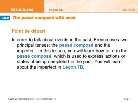 Point de départ In order to talk about events in the past, French uses two principal tenses: the passé composé and the imperfect. In this lesson, you.