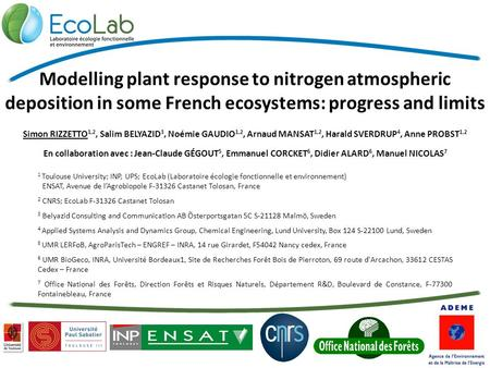 Modelling plant response to nitrogen atmospheric deposition in some French ecosystems: progress and limits Simon RIZZETTO 1,2, Salim BELYAZID 3, Noémie.