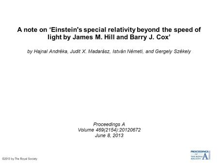 A note on 'Einstein's special relativity beyond the speed of light by James M. Hill and Barry J. Cox' by Hajnal Andréka, Judit X. Madarász, István Németi,