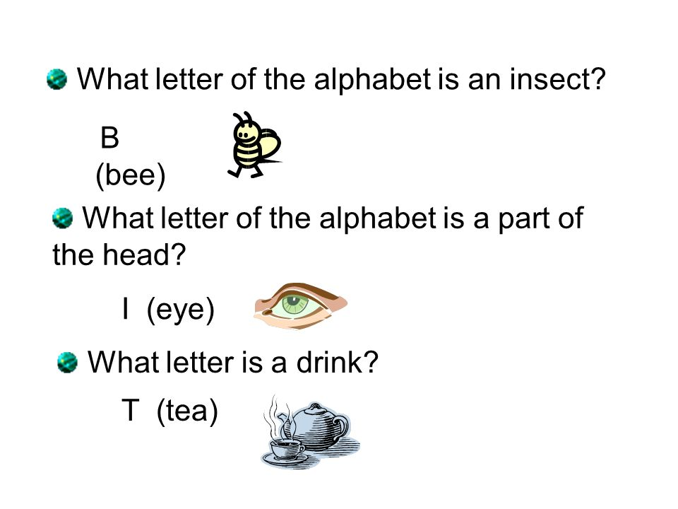 What letter of the alphabet is a body of water.C (sea) What letter is an exclamation .