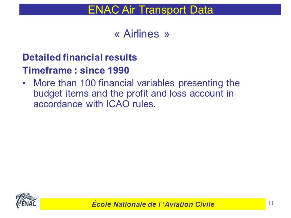 12 ENAC Air Transport Data École Nationale de l Aviation Civile