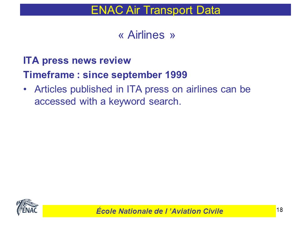 19 ENAC Air Transport Data École Nationale de l Aviation Civile