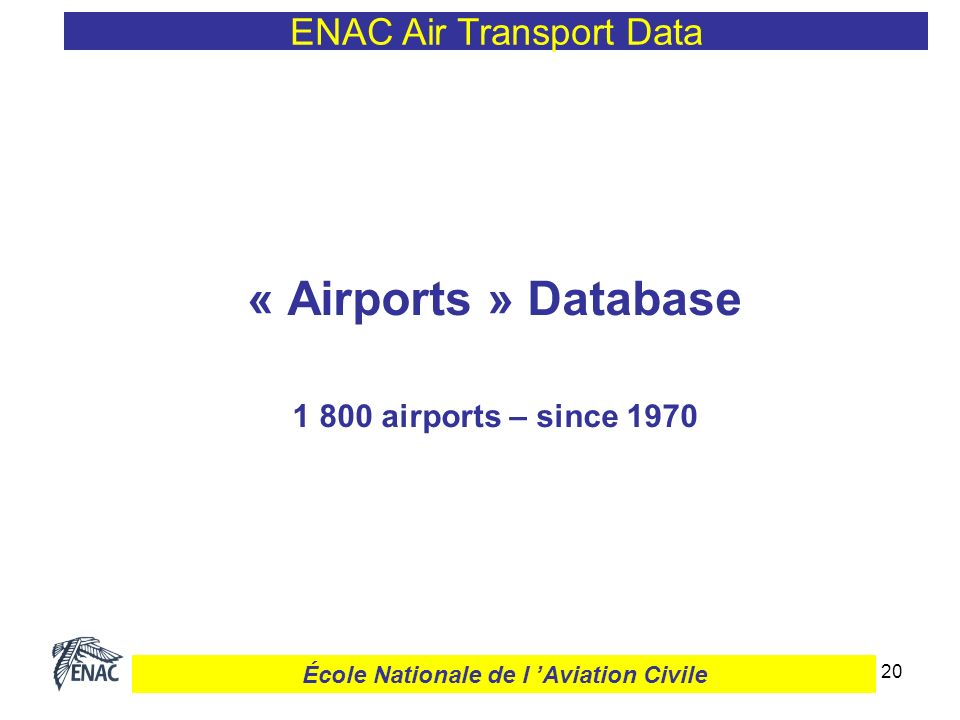 21 « Airports » Monthly and annual traffic Timeframe : since 1970* Movements : domestic, international, etc.