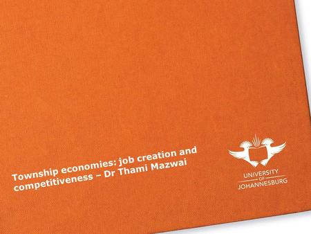 Township economies: job creation and competitiveness – Dr Thami Mazwai.