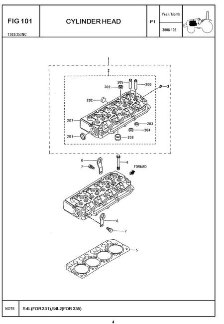 2008 / 06 NOTE Year / Month S4L(FOR 331),S4L2(FOR 335) T303/353NC P1 FIG 101 CYLINDER HEAD 4.