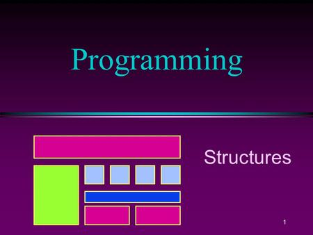 1 Programming Structures COMP102 Prog. Fundamentals, Structures / Slide 2 2 Structures l A Structure is a collection of related data items, possibly.