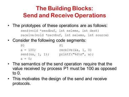 The Building Blocks: Send and Receive Operations