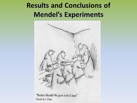 Results and Conclusions of Mendel's Experiments. Mendel began his experiments by cross pollinating pure breeding plants His studies focused on only one.