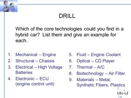 U3c-L2 Which of the core technologies could you find in a hybrid car? List them and give an example for each. DRILL 1.Mechanical – Engine 2.Structural.