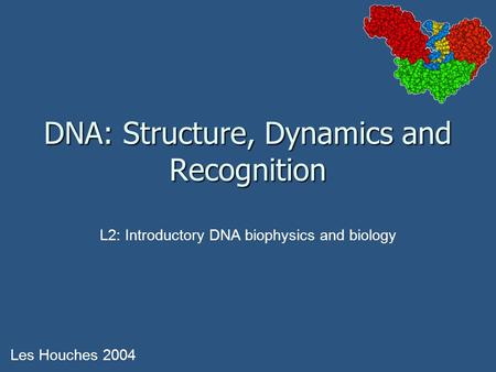 DNA: Structure, Dynamics and Recognition Les Houches 2004 L2: Introductory DNA biophysics and biology.